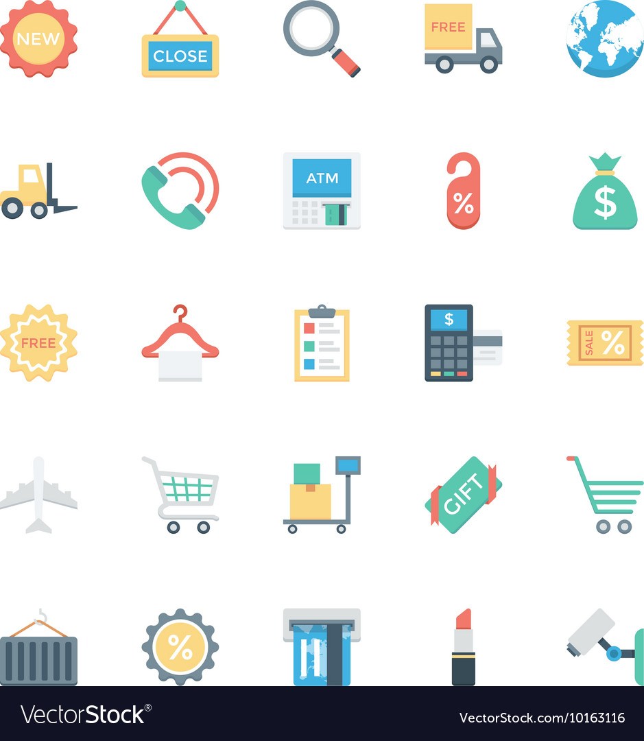 Shopping flat colored icons 2 vector