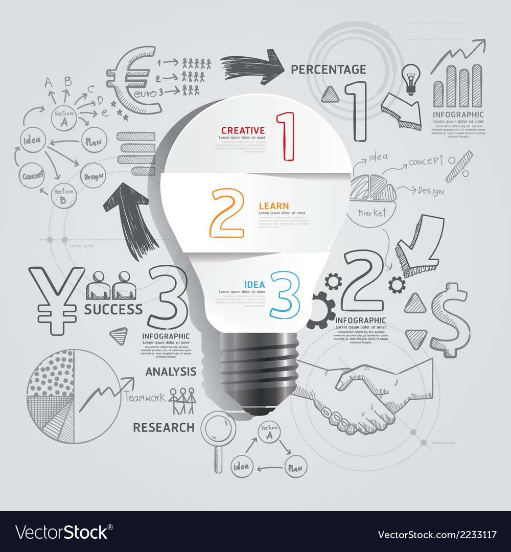 Light bulb doodles line drawing success strategy vector