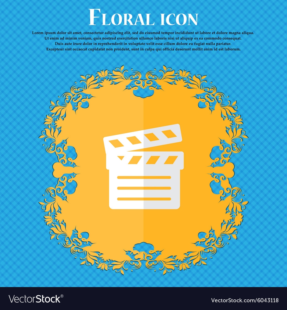 Cinema clapper floral flat design on a blue vector