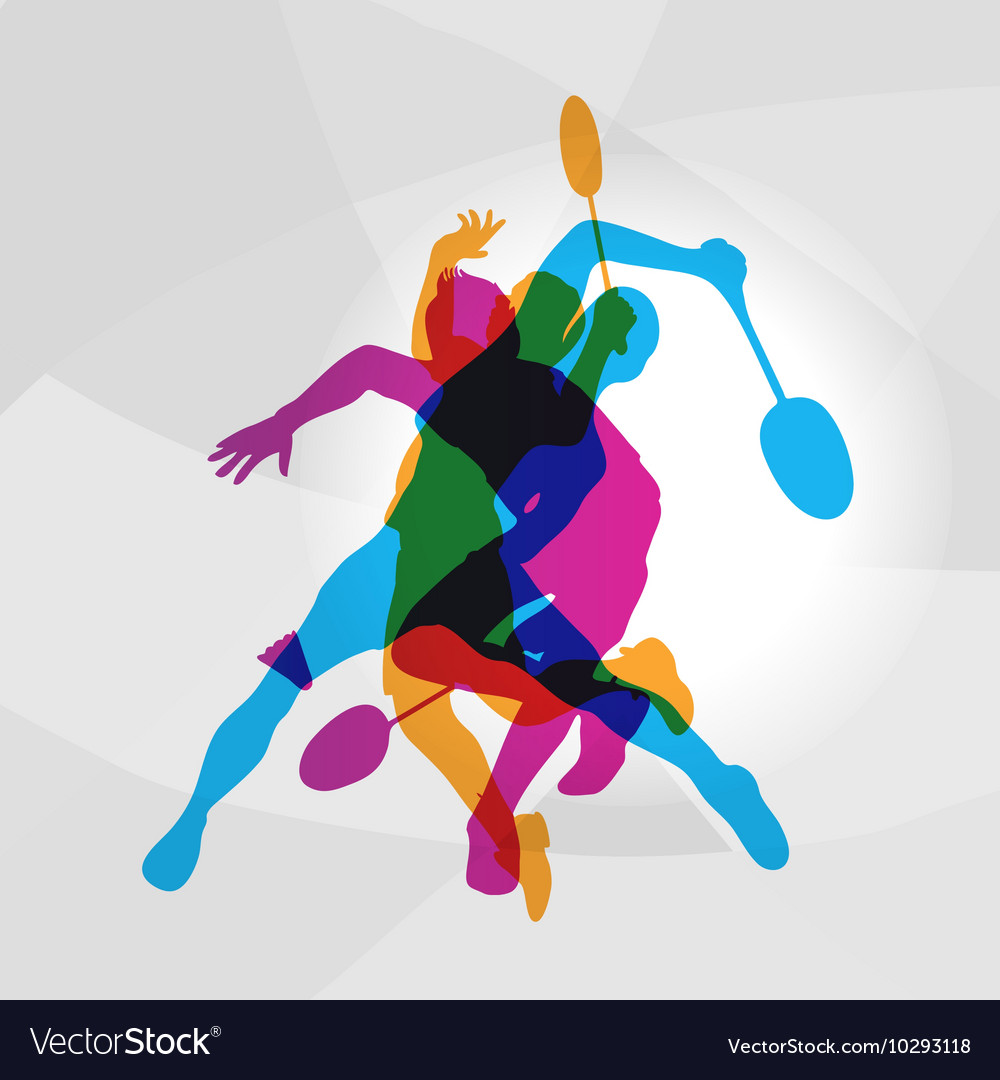 Modern badminton players in action logo vector
