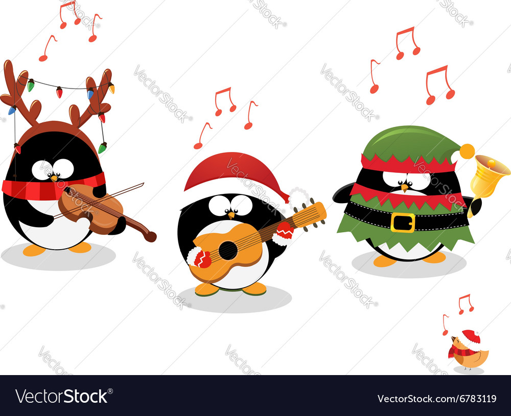 Penguins playing christmas music vector