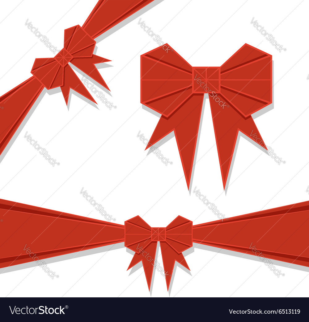 Red origami bow vector