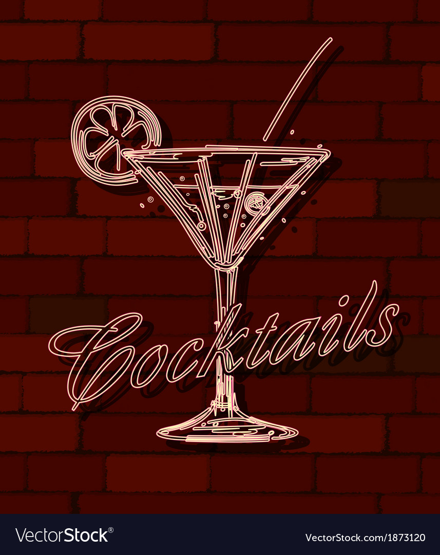 Cocktails neon sign vector