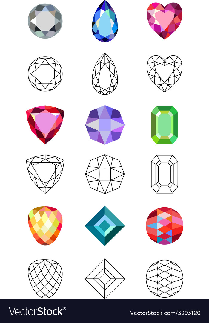 Low poly colored black outline template gems cut vector