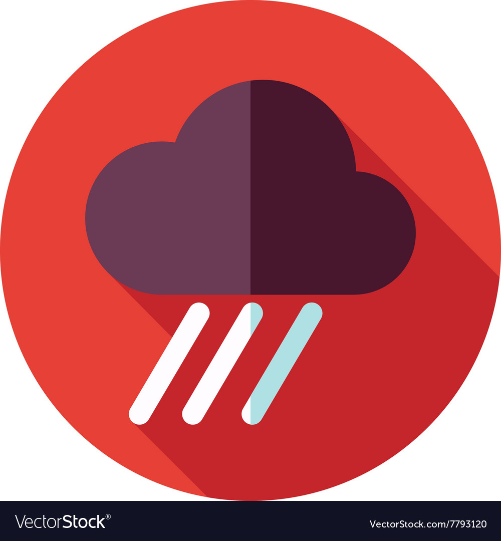 Rain cloud flat icon downpour rainfall weather vector