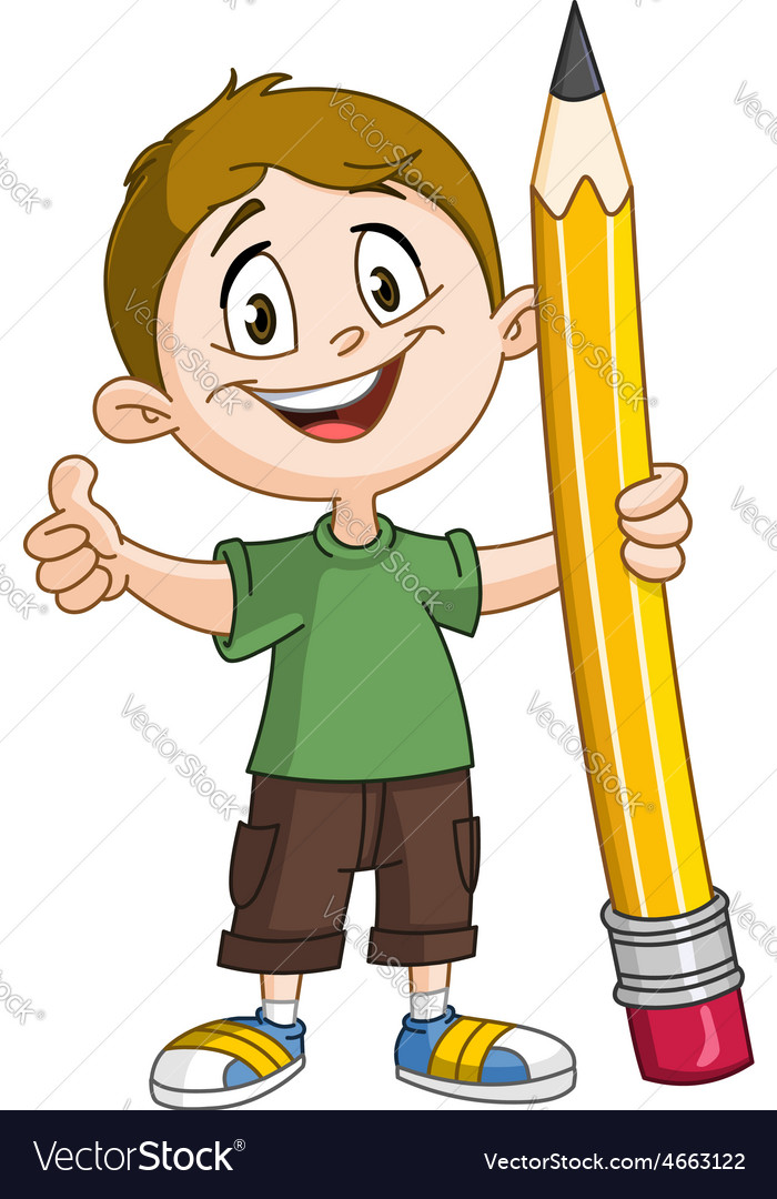 Boy holding pig pencil vector