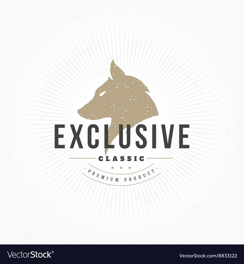 Wolf head hand drawn design element in vintage vector