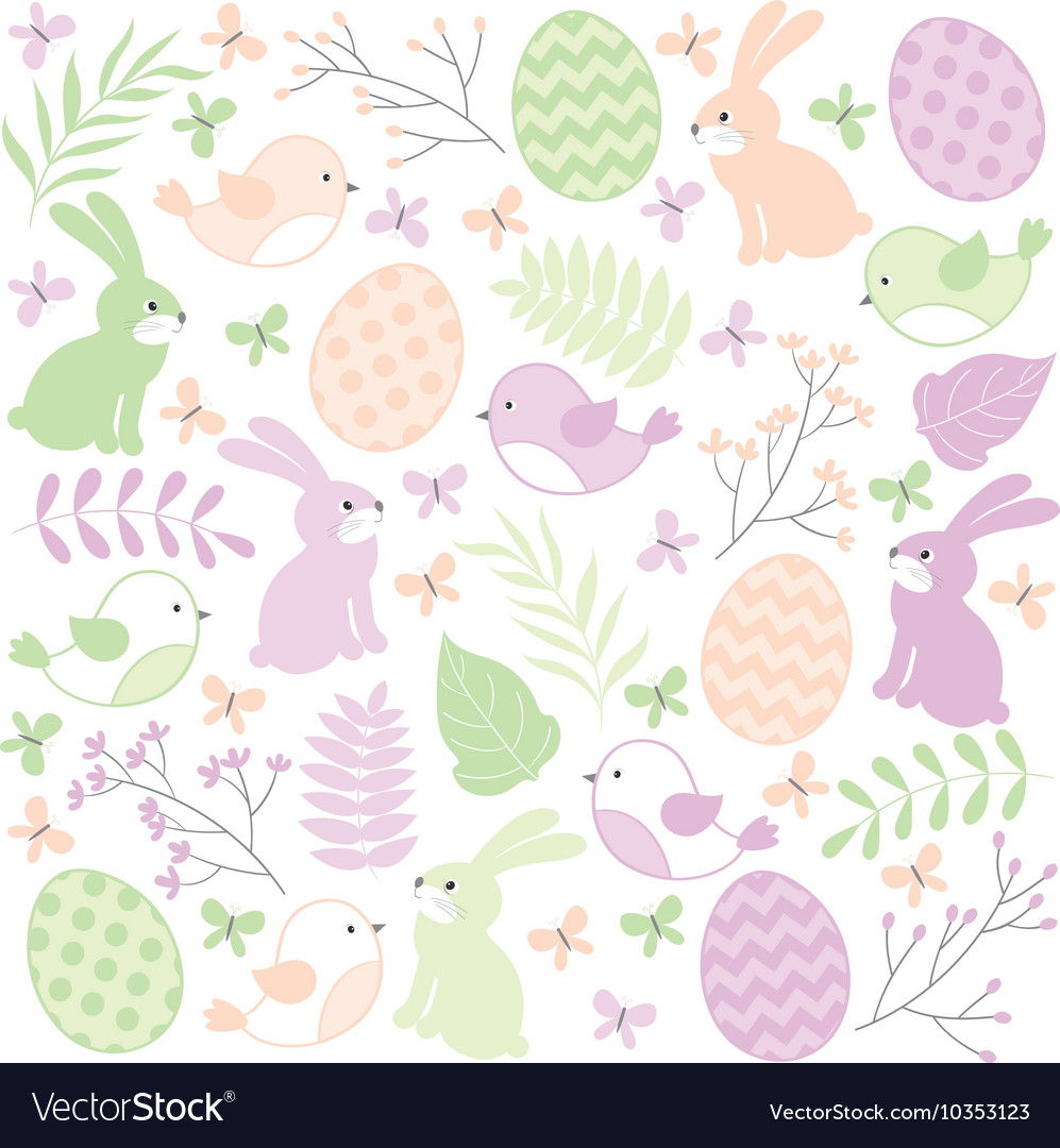 Easter time set vector