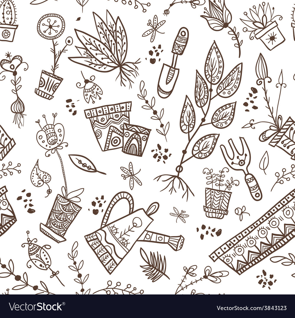 Gardening and planting seamless pattern vector