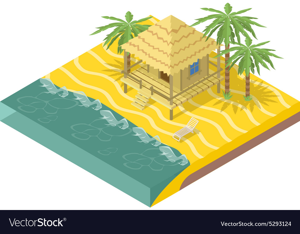Beach real estate house with palm trees vector