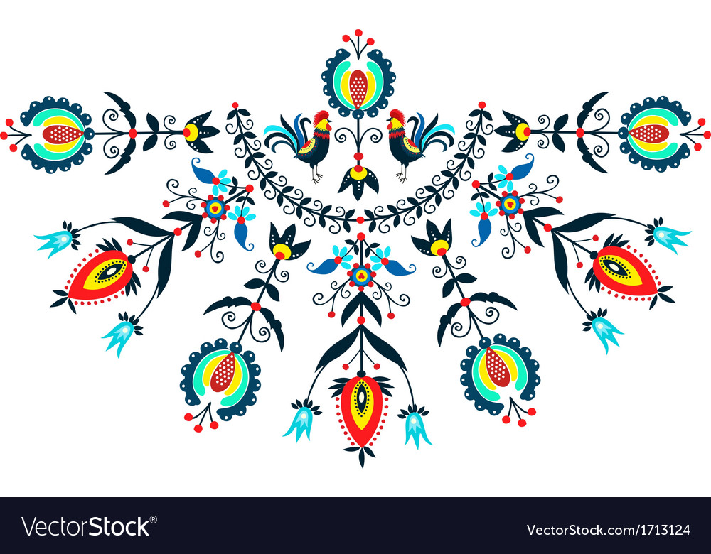 Folk postcard with roosters vector