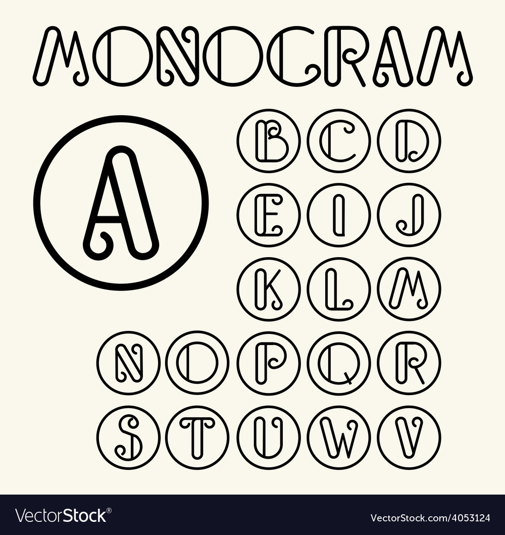 Vintage art nouveau font for your monogram vector