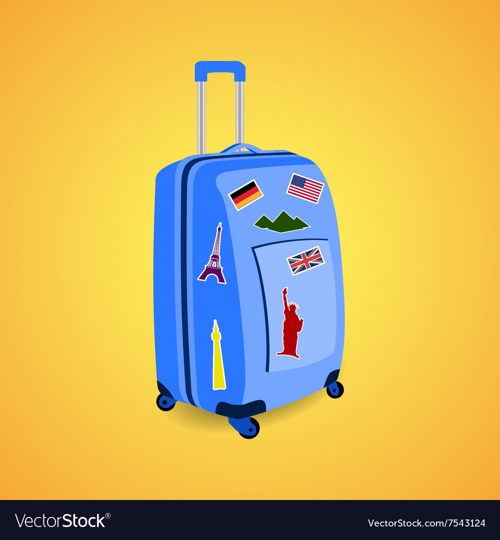 Vtravel suitcase with funky stickers vector