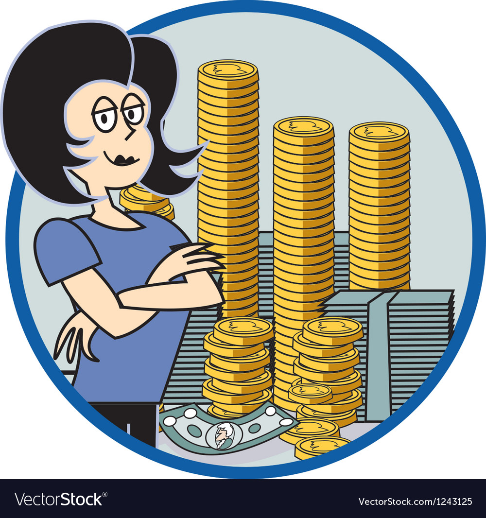 Business lady with money vector