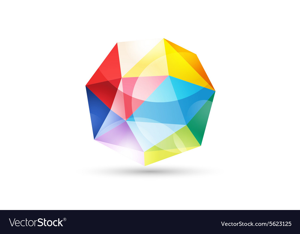 Globe abstract logo template tetrahedron vector