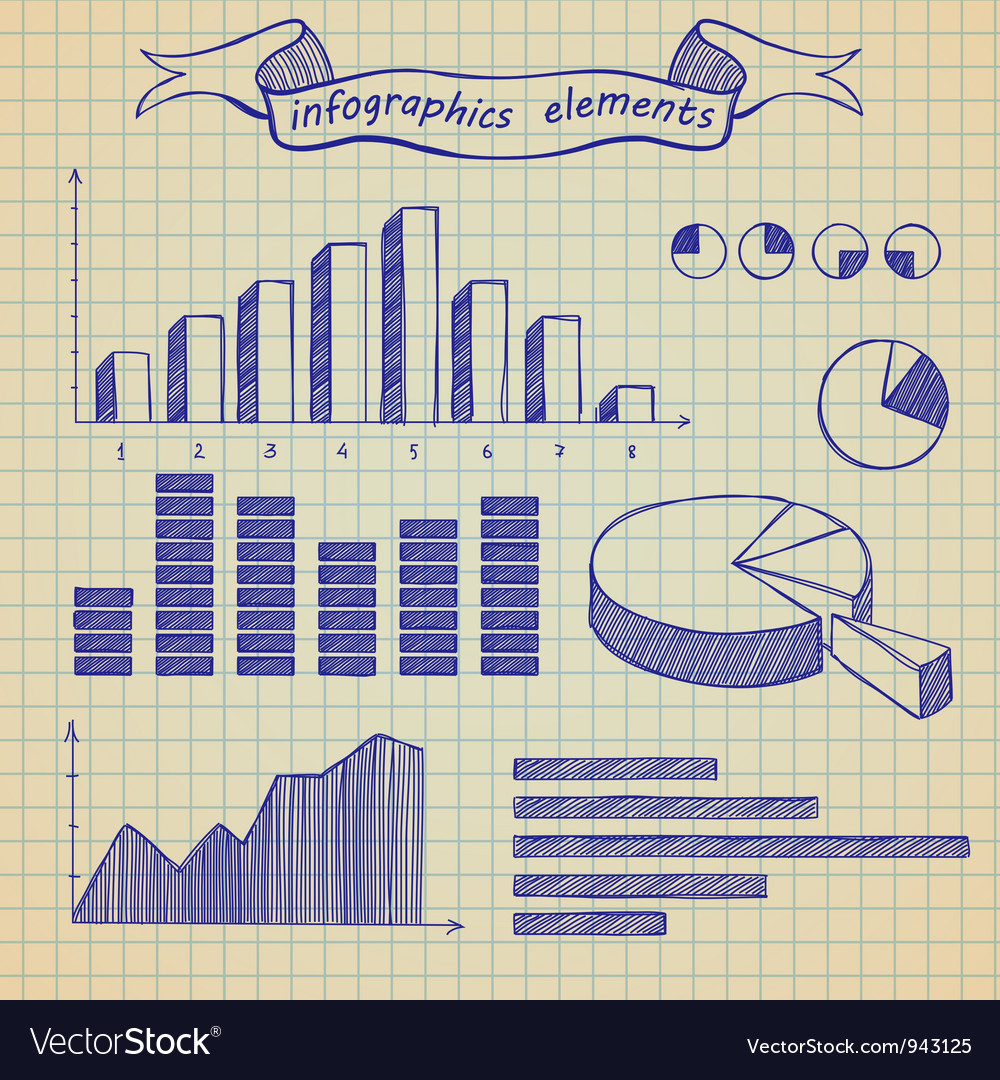 Infographics elements sketch vector