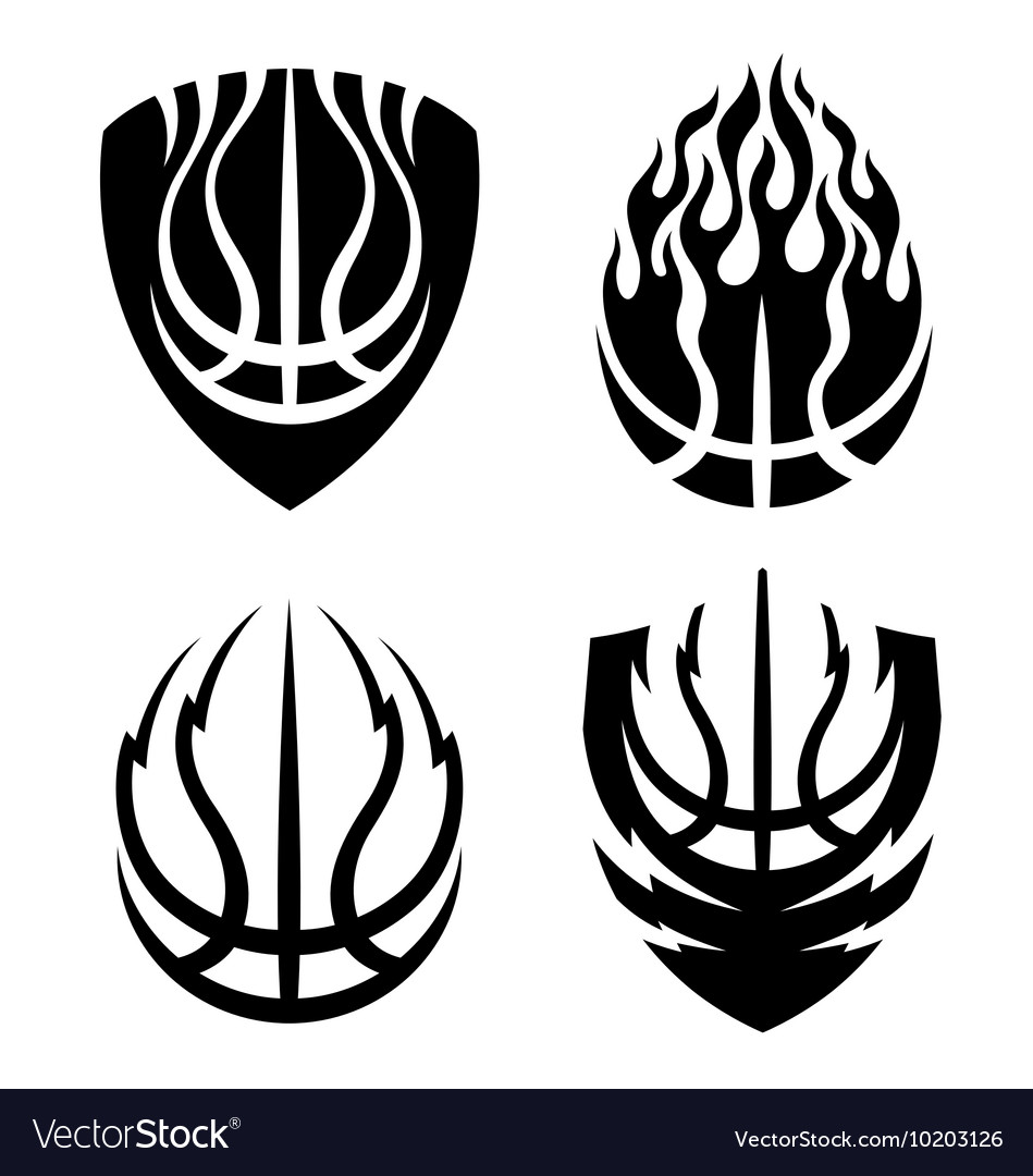 Basketball icon emblems set vector