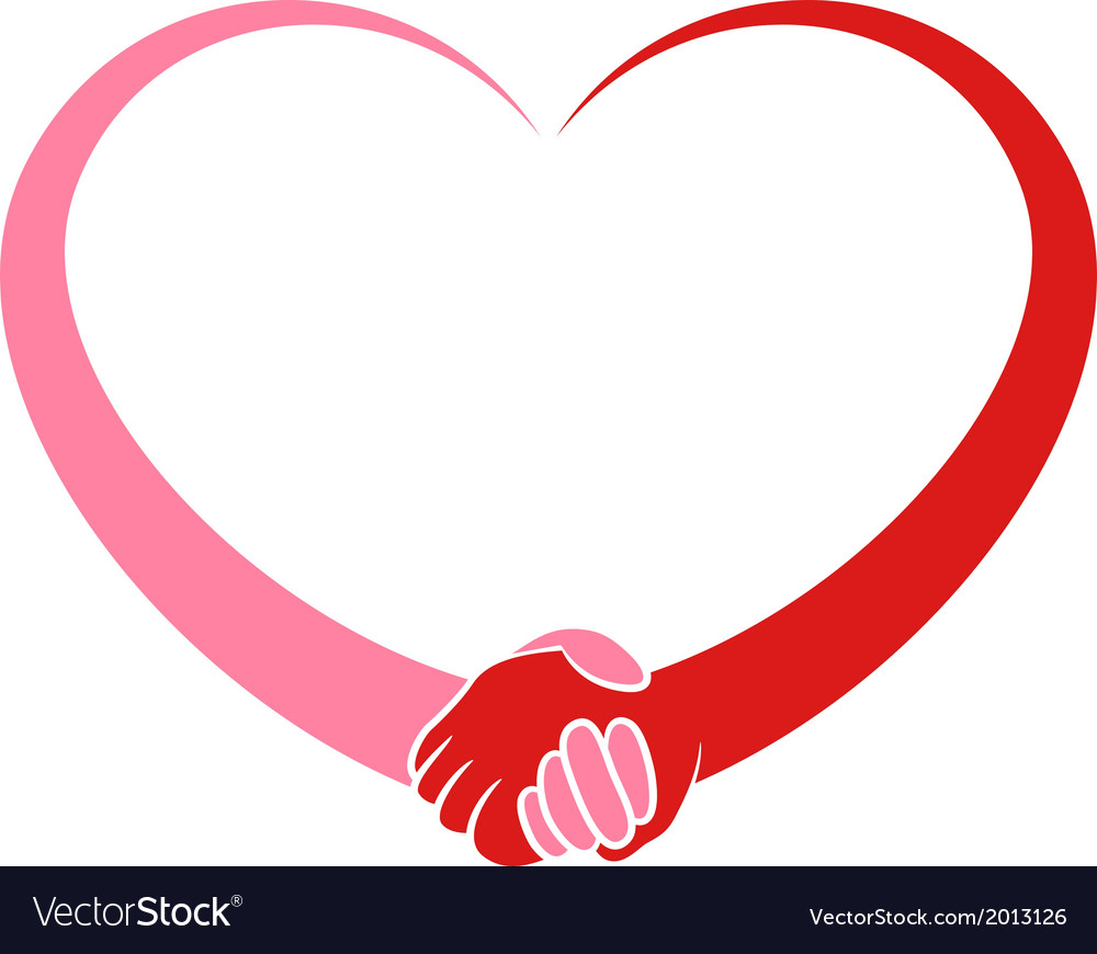 Heart holding hands vector