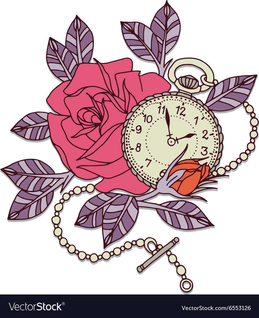 Rose clock tattoo design vector