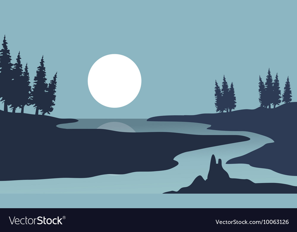Silhouette of river and moon landscape vector