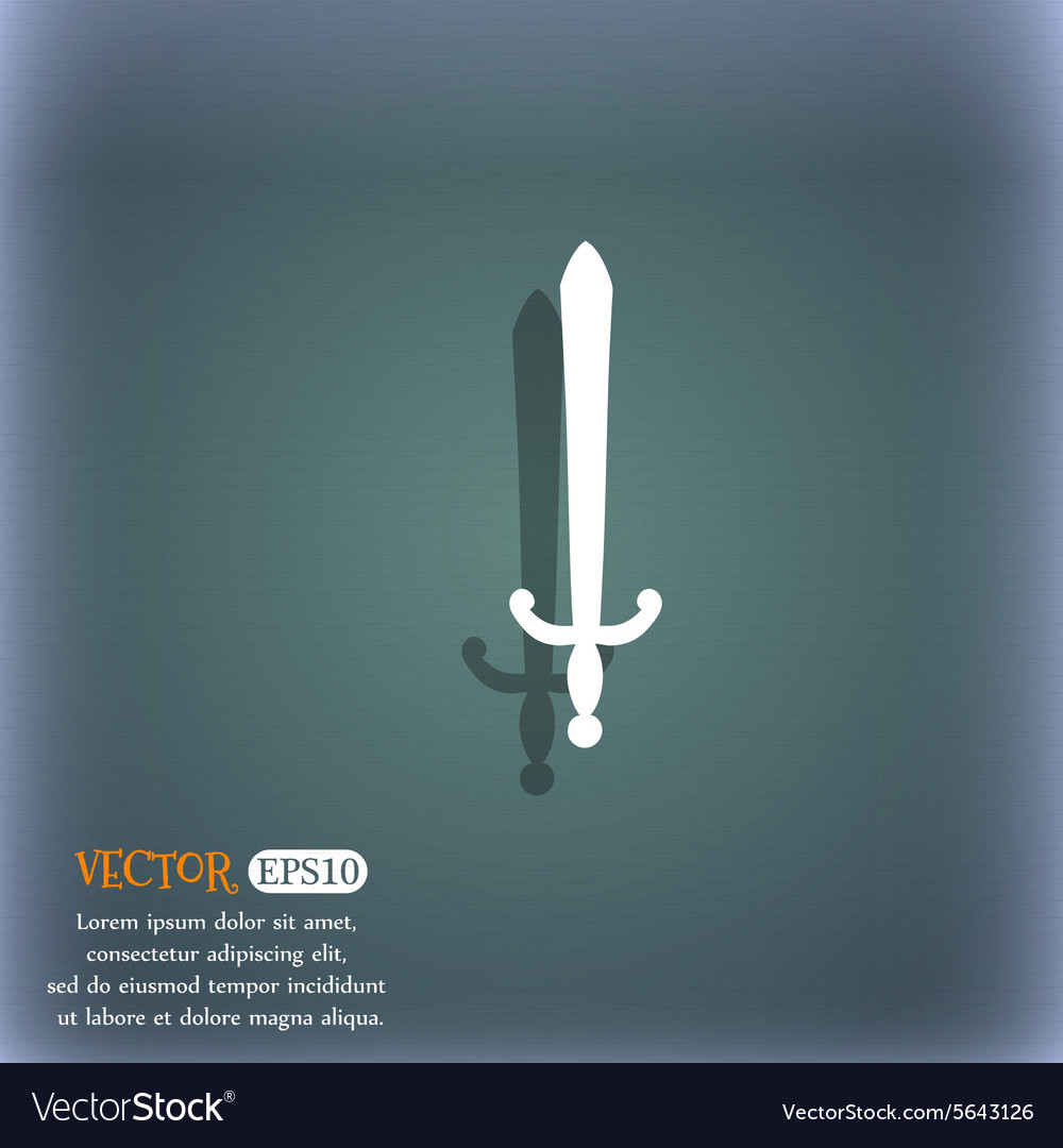 Sword icon symbol on the bluegreen abstract vector