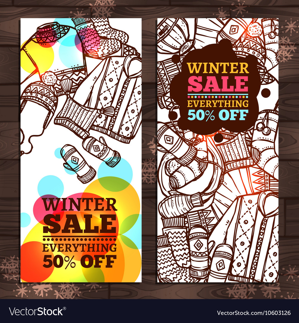 Winter sale sketch banners winter clothes sale vector