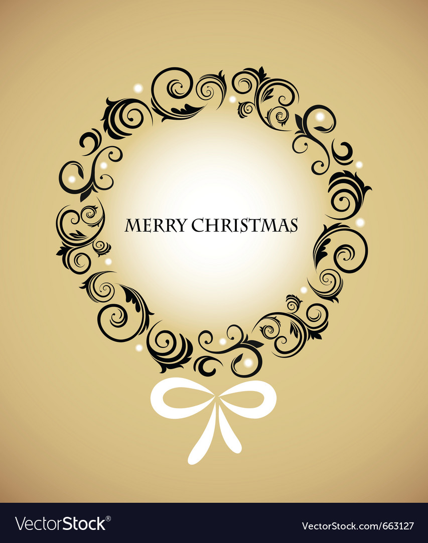 Vintage christmas wreath with retro ornaments vector