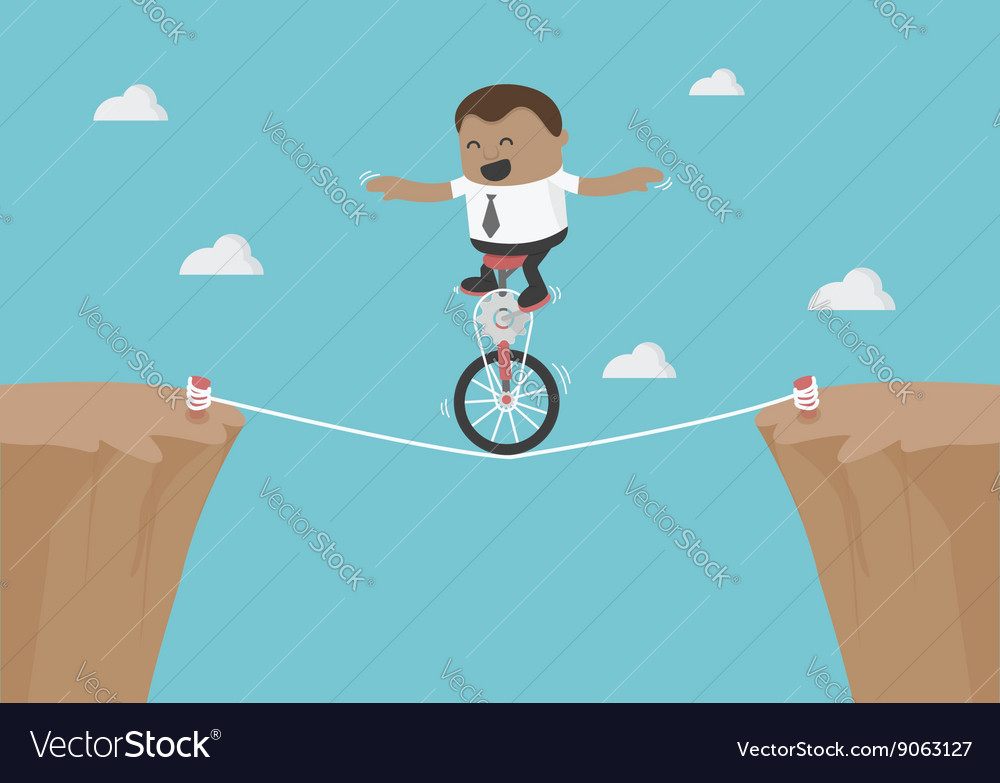 Young african businessman balancing on the rope vector