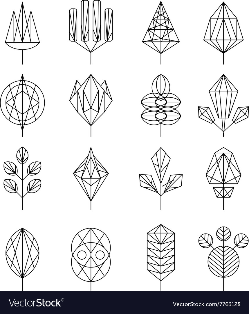 Flower and tree abstract icons vector