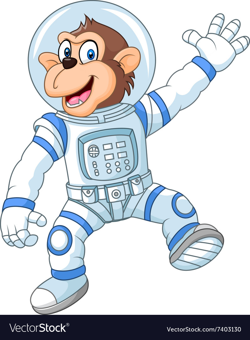 Cartoon funny monkey wearing astronaut costume vector