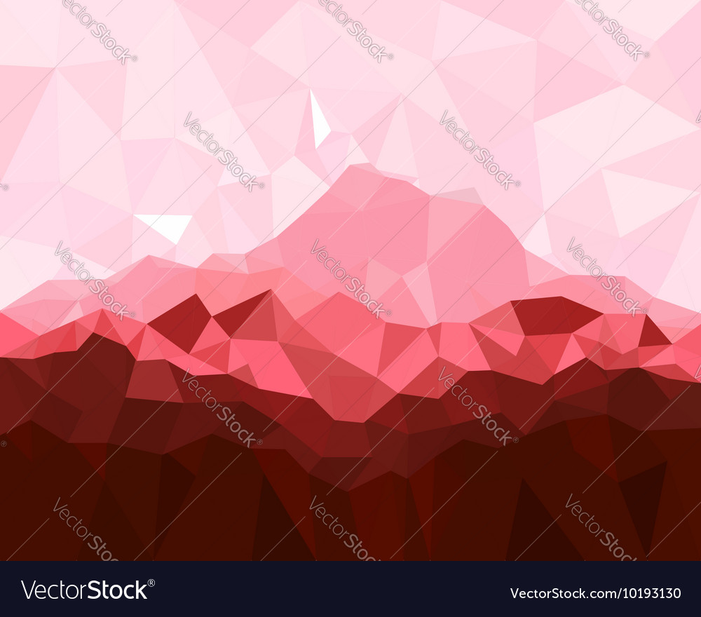 Low poly geometrical background with red mountains vector