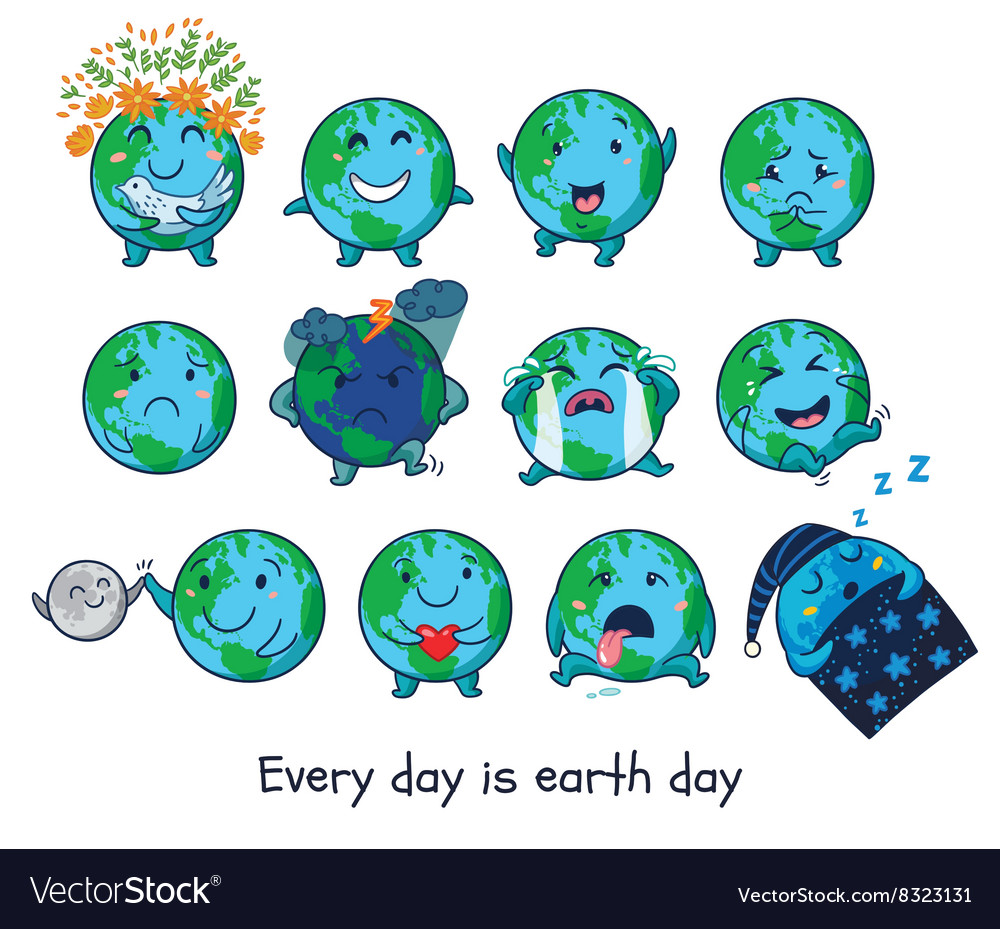 Cute cartoon earth globe with emotions vector