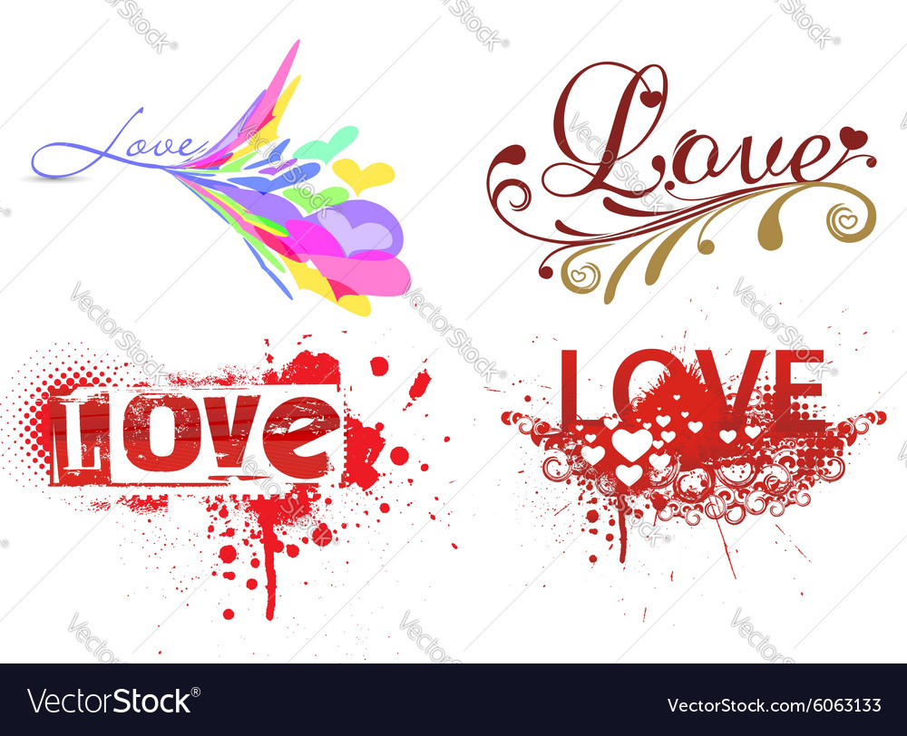 Set of love grunge text vector