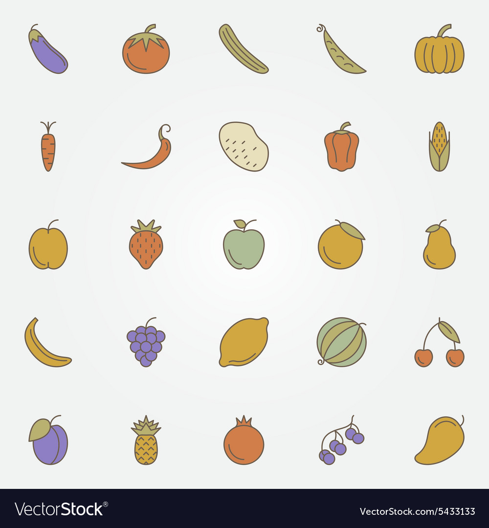 Vegetables and fruits flat icons vector