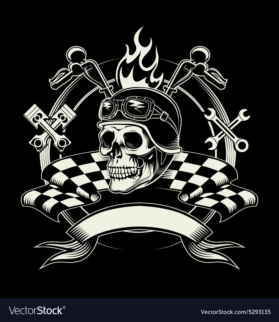 Biker emblem with skull or dead motorcycle vector