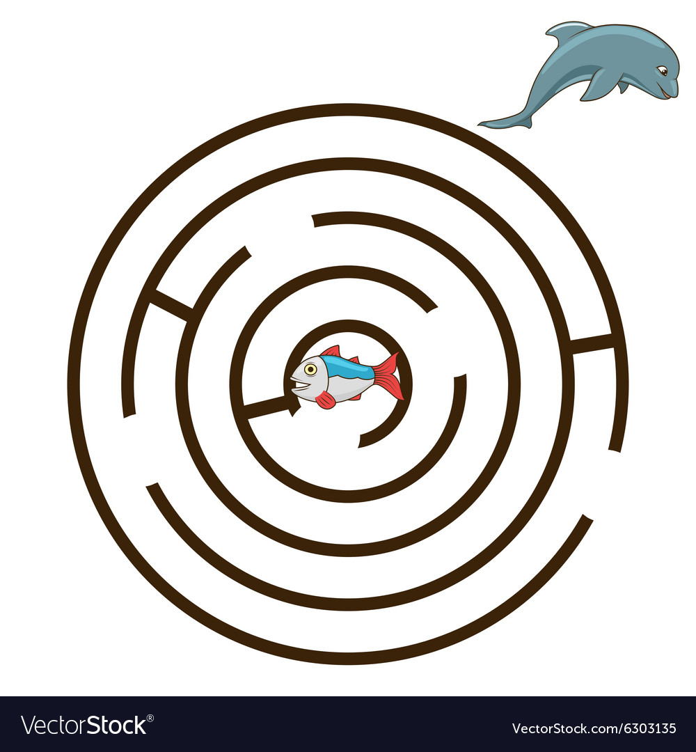 Game labyrinth find a way dolphin vector
