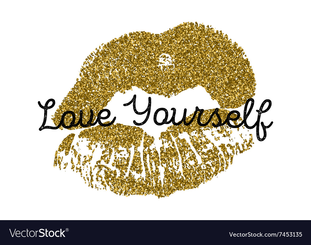 Poster with gold glitter lips prints on white vector
