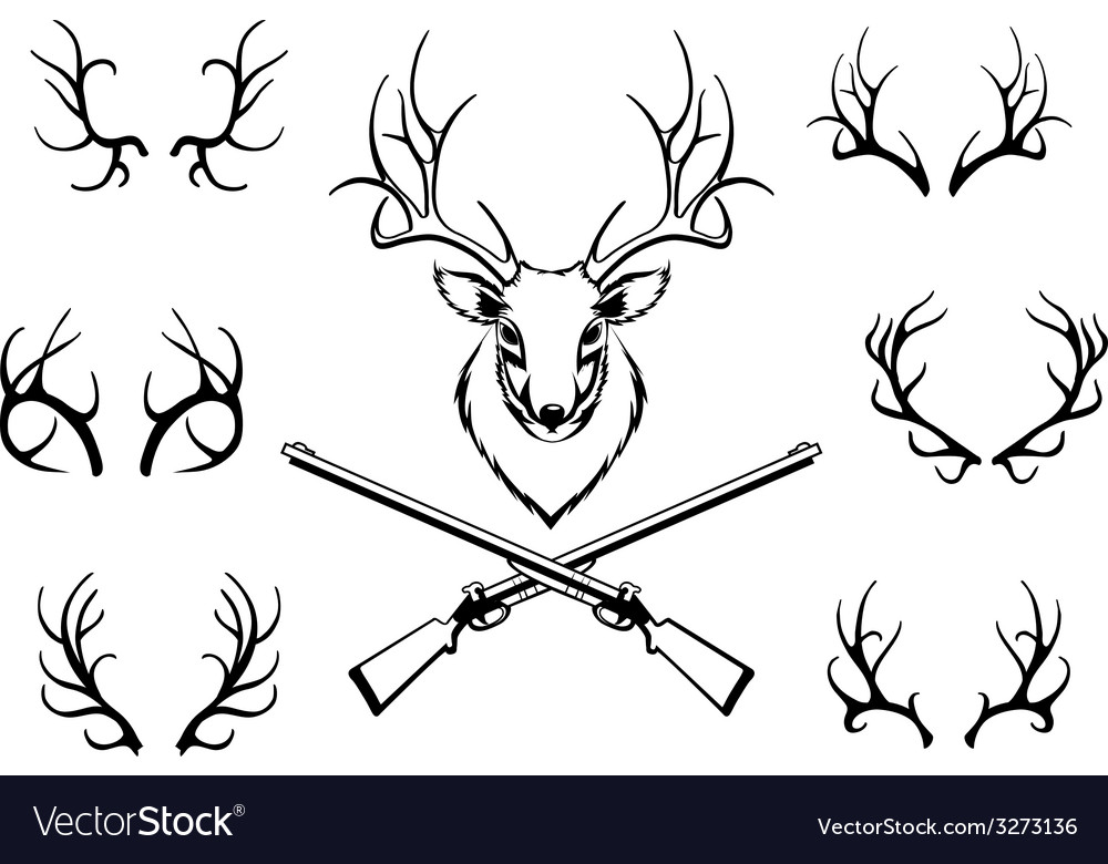 Set of antlers with a trophy and guns vector