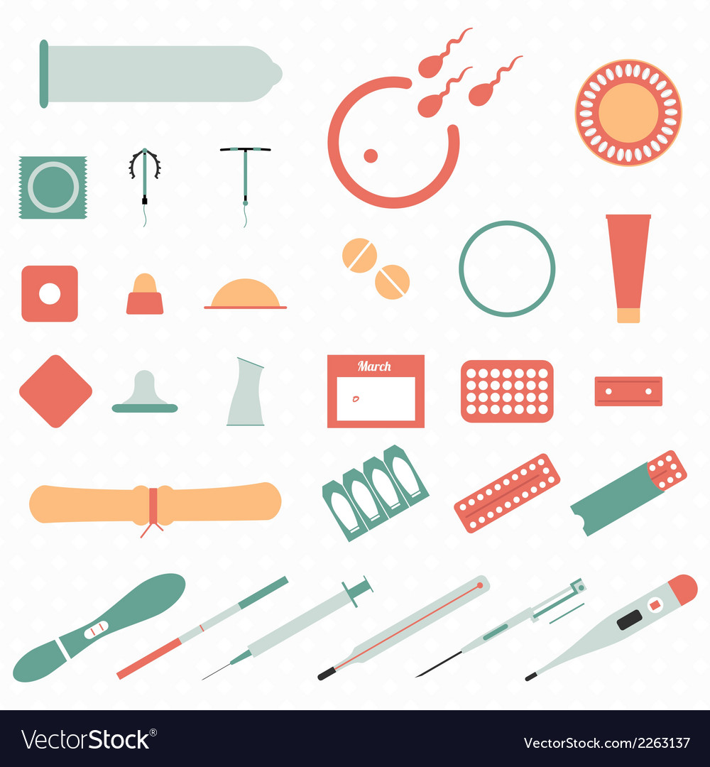 All modern types and contraception methods vector