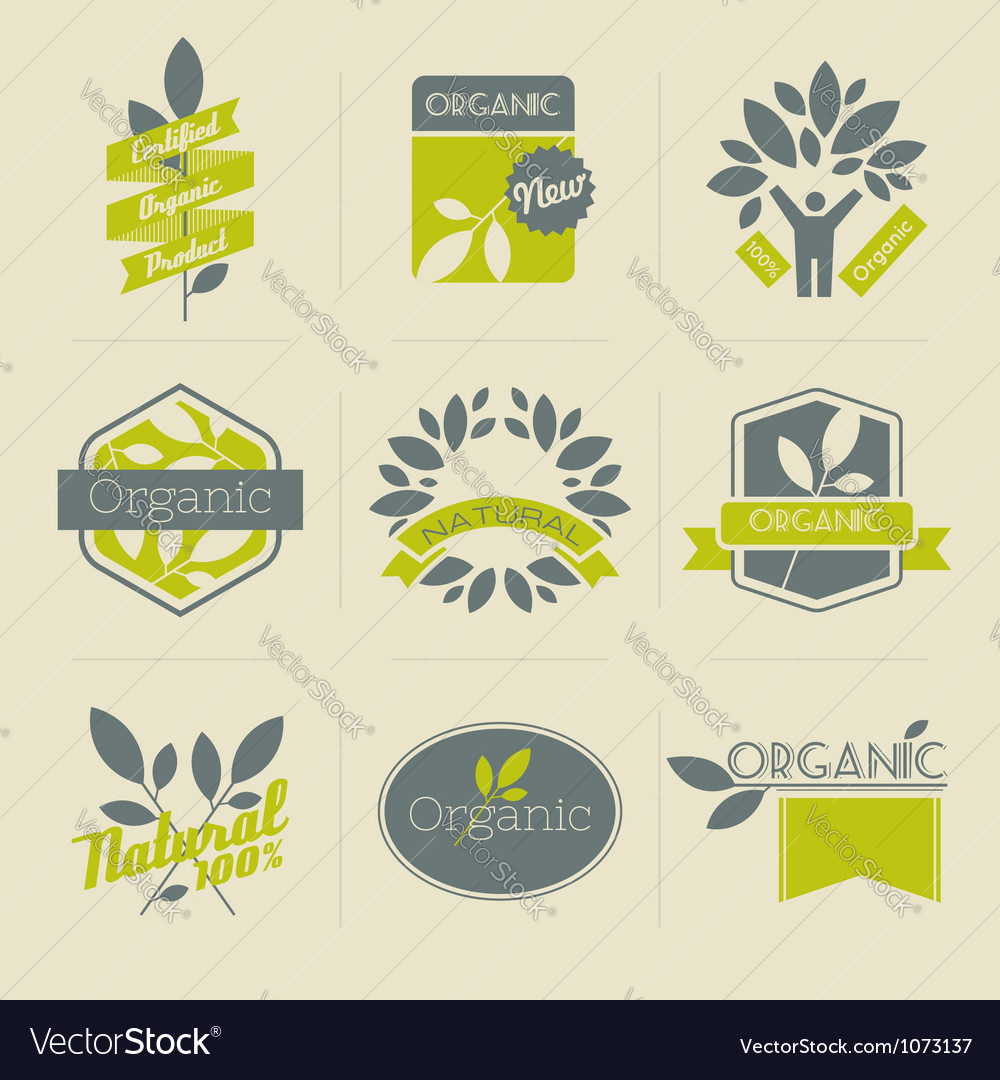 Organic retro labels vector