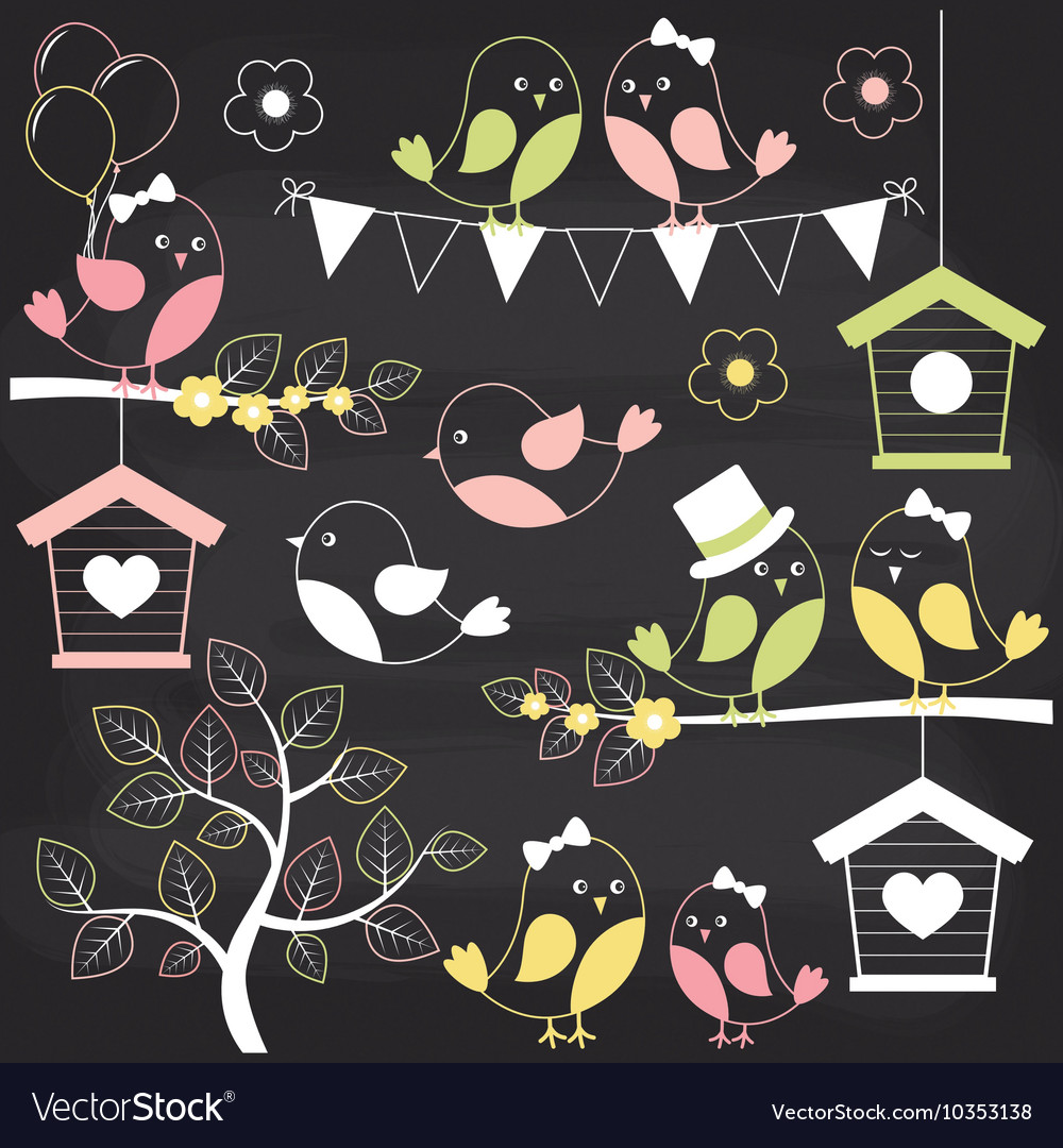 Chalkboard birds vector