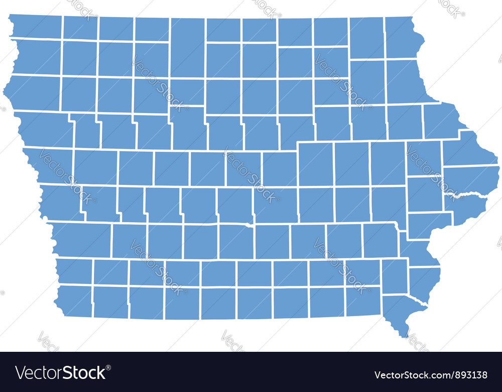 State map of iowa by counties vector