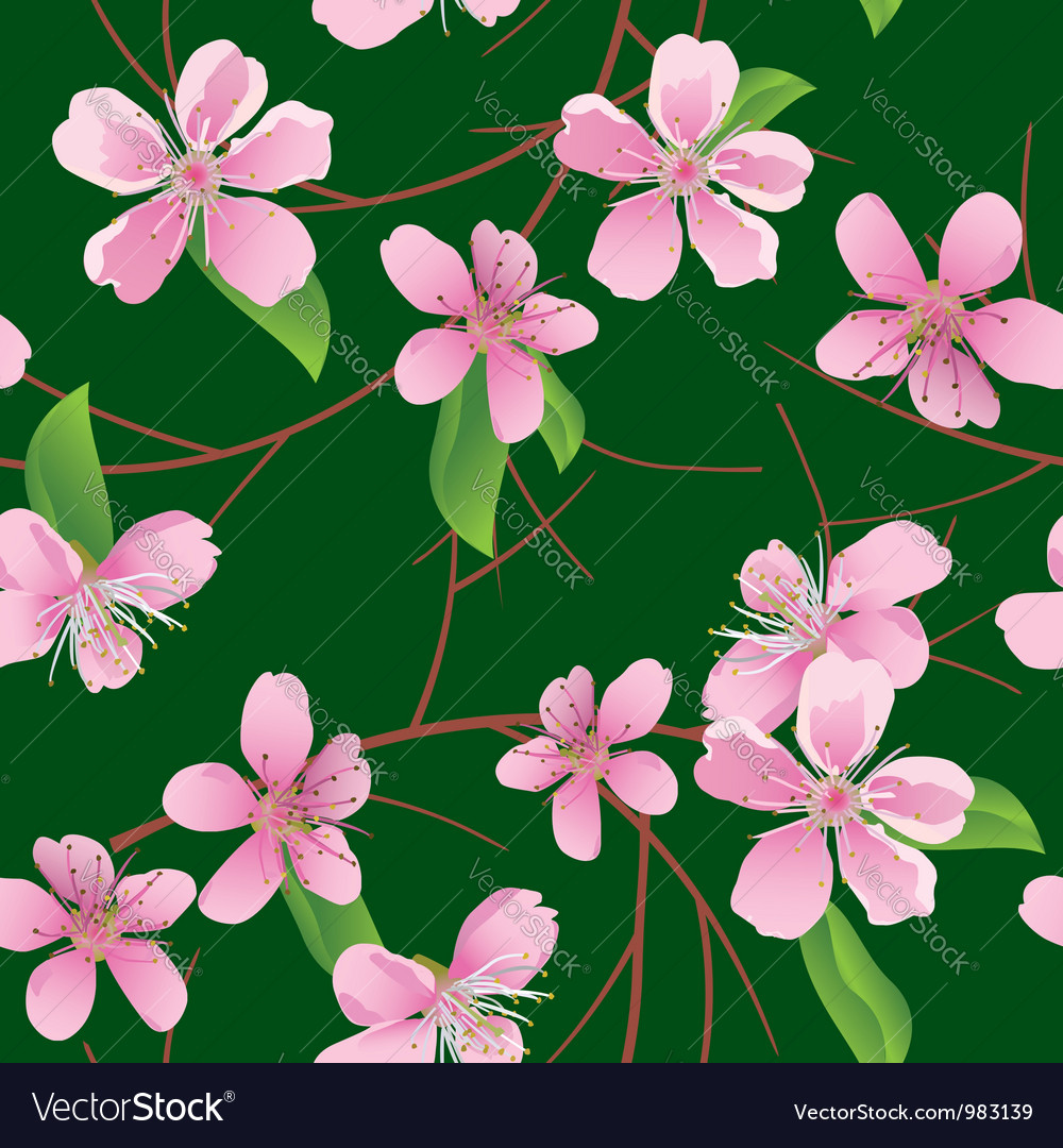 Dark green seamless pattern with peach flowers vector