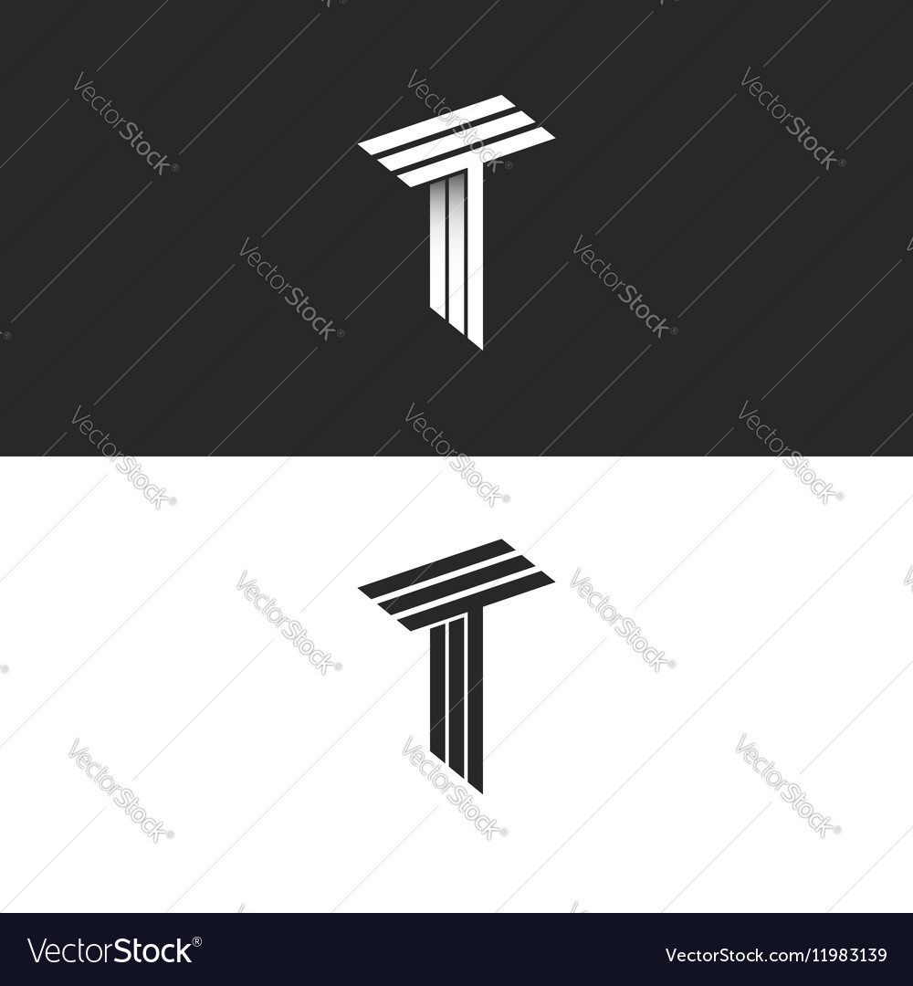 Monogram letter t logo black and white isometric vector