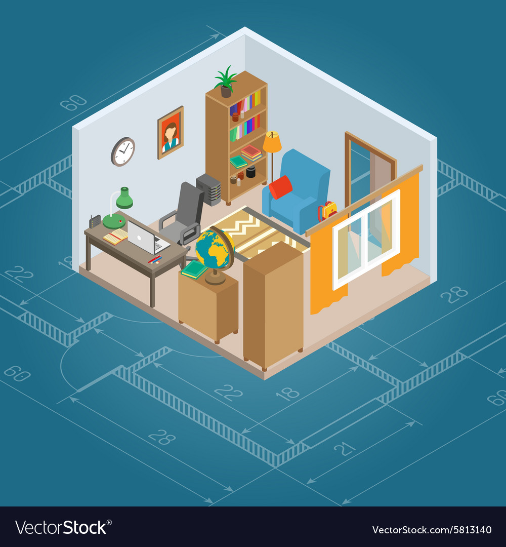 Isometric cabinet interior vector