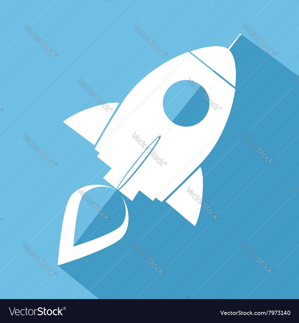 Retro rocket icon vector