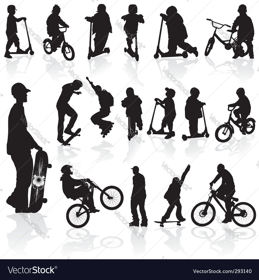 Silhouettes children and man vector