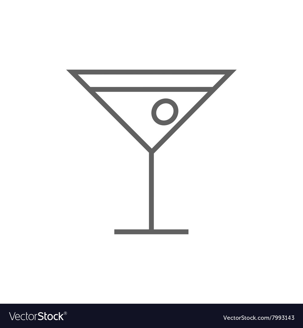 Cocktail glass line icon vector