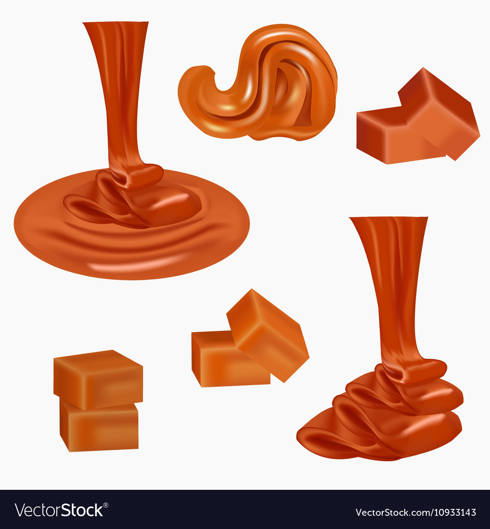 Flow pouring sweet caramelcaramel candiessquare vector