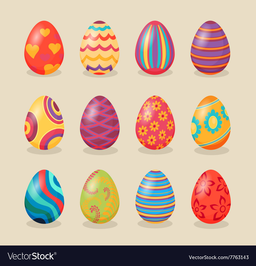 Set of easter eggs design flat vector